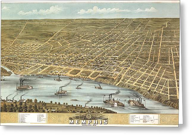 Memphis Tennessee 1870 Greeting Card by Donna Leach