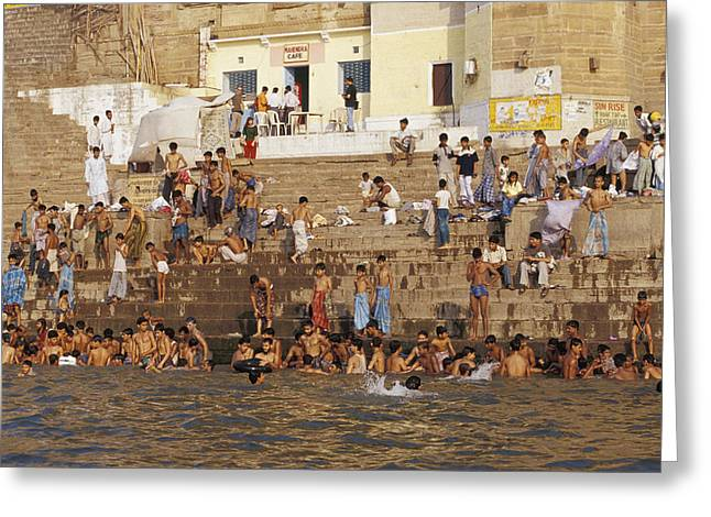 Men And Boys Bathe At An Ancient Ghat Greeting Card by Jason Edwards