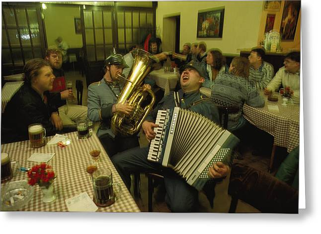 Men Sing Satirical Songs Of Austrias Greeting Card by James L. Stanfield