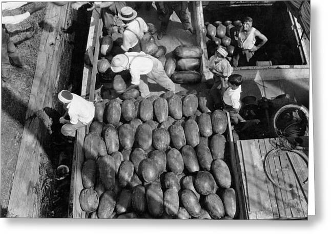 Men Work To Load A Ship Taking Greeting Card by Edwin L. Wisherd