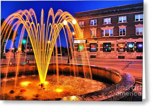 Menasha Lighted Fountain Greeting Card by Mark David Zahn
