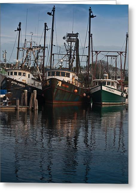 Menemsha Village Fishing Boats Greeting Card by Peggie Strachan