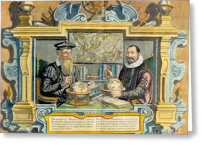 Mercator And Hondius Greeting Card by Science Source
