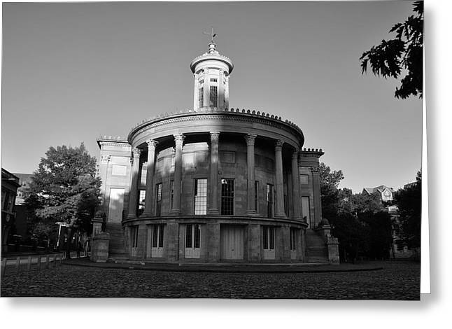 Merchant Exchange Building - Philadelphia In Black And White Greeting Card by Bill Cannon