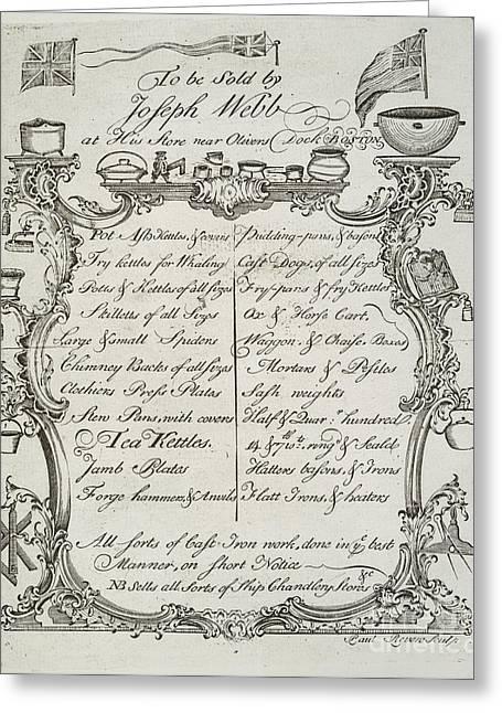 Merchant Trade Card, 1765 Greeting Card