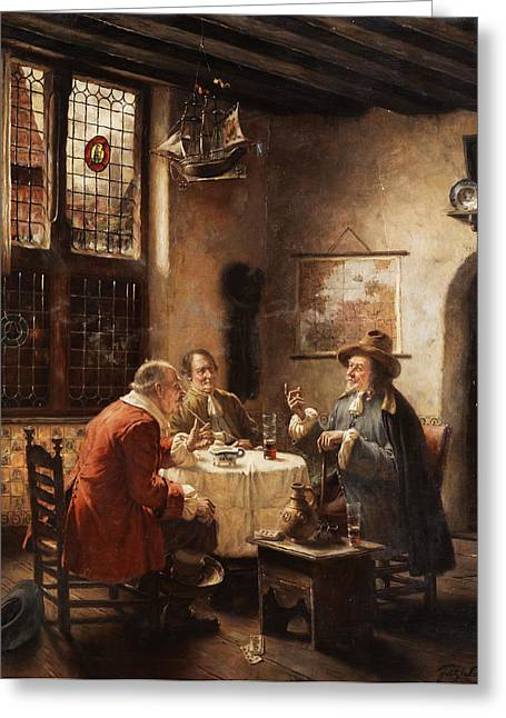 Merchants Greeting Card by Fritz Wagner