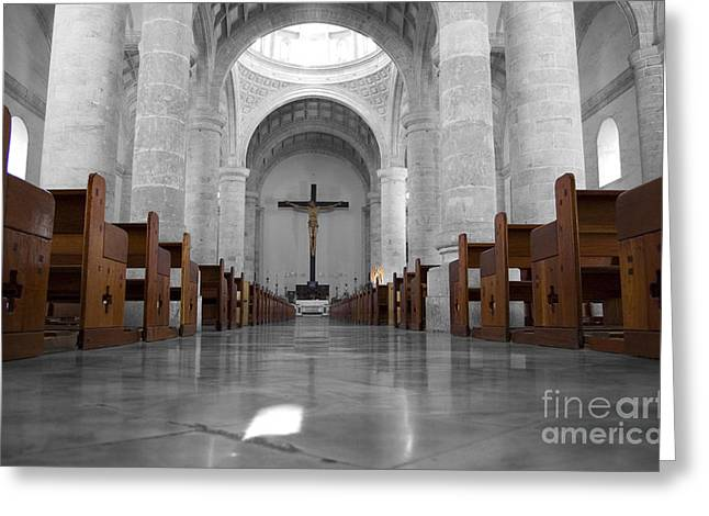 Greeting Card featuring the photograph Merida Mexico Cathedral Interior Color Splash Black And White by Shawn O'Brien