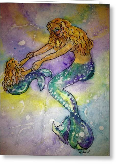 Mermaid And Child Greeting Card by Gloria Avner