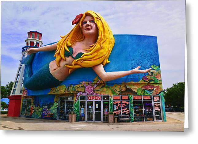 Mermaid Building Greeting Card by Garry Gay