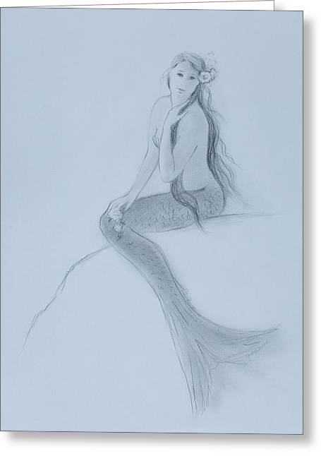 Mermaid Christina Touching Her Hair Greeting Card by Tina Obrien