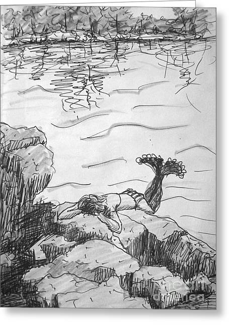 Greeting Card featuring the painting Mermaid On The Rocks by Gretchen Allen