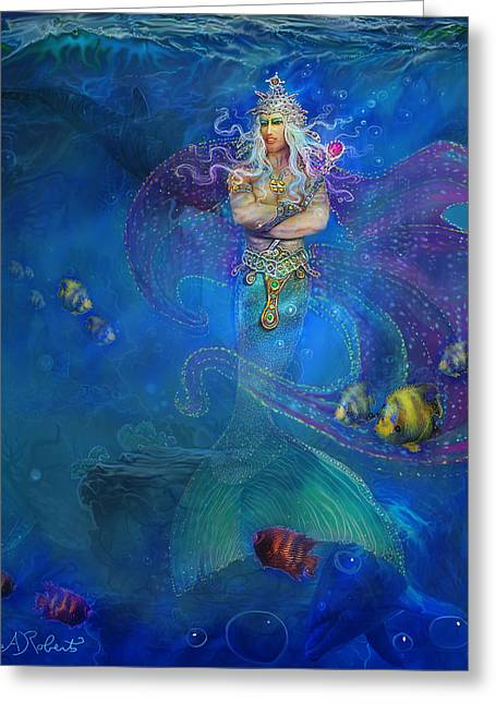 Greeting Card featuring the painting Mermaid Prince by Steve Roberts