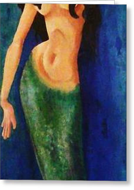 Mermaid Reach Greeting Card by Abraham Gonzales