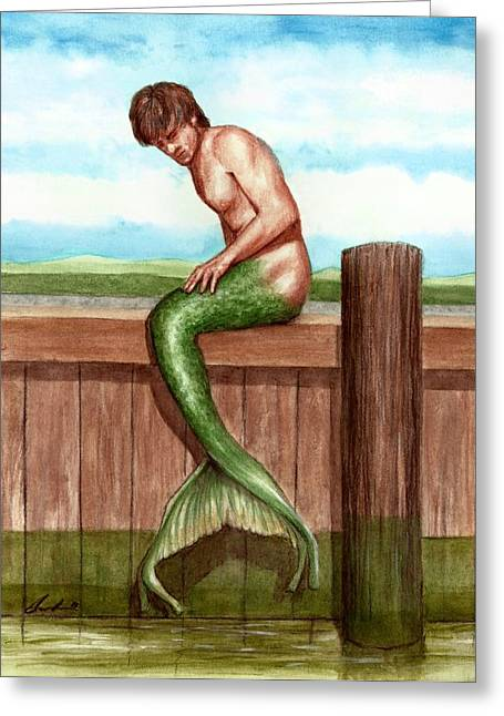 Merman On The Dock Greeting Card by Bruce Lennon