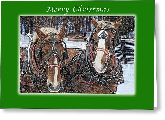 Merry Christmas Horses At Sawmill Greeting Card by Michael Peychich