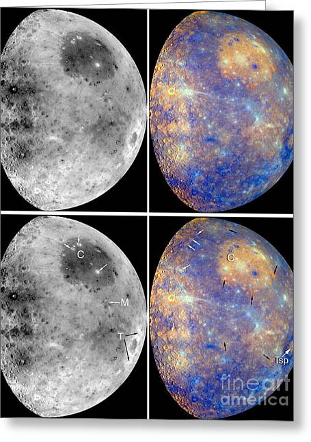 Messenger Image Of Mercury Greeting Card by Nasa