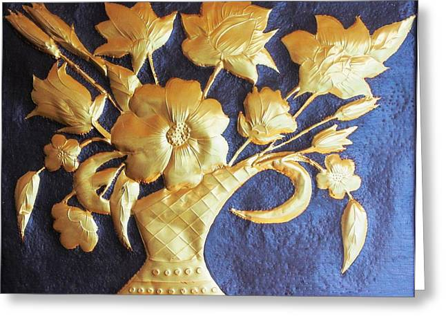 Metal Flowers Greeting Card by Rejeena Niaz