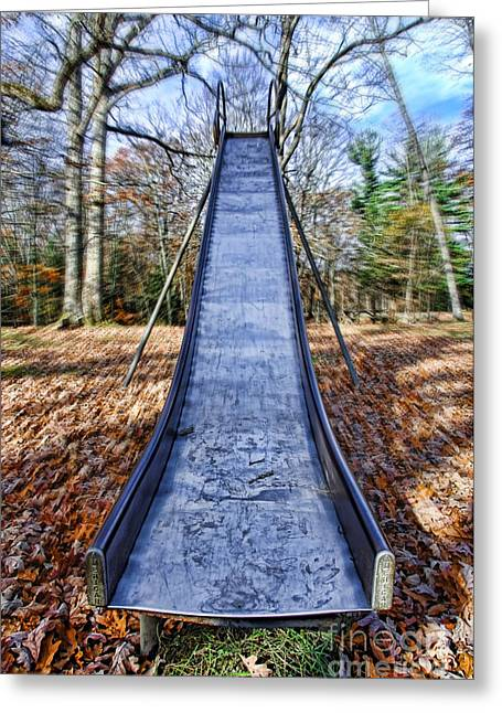 Metal Slide In Children's Playground Greeting Card