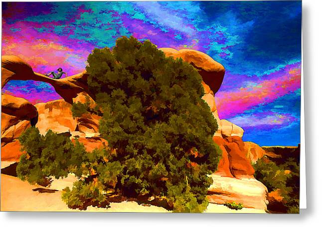 Greeting Card featuring the photograph Metate Arch Dream by Gregory Scott