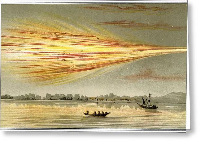 Meteorite Explosion, Historical Artwork Greeting Card by Detlev Van Ravenswaay