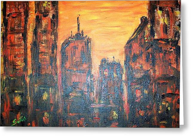 Metropolis Sunset  Greeting Card by Mary Sedici
