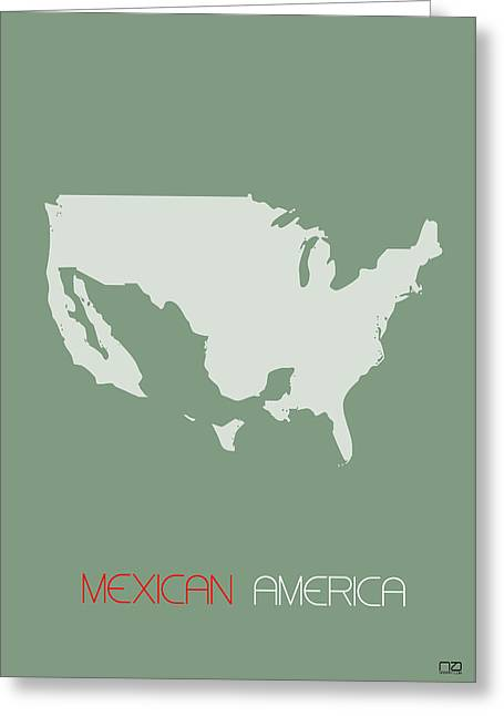 Mexican America Poster Greeting Card by Naxart Studio