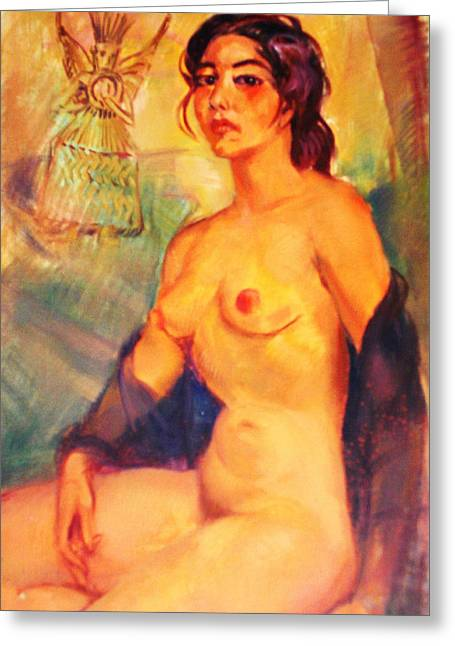 Mexican Indian Nude Beauty Greeting Card by Bill Joseph  Markowski