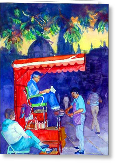 Mexico  Shoe Shiner  Zapatero Greeting Card by Estela Robles