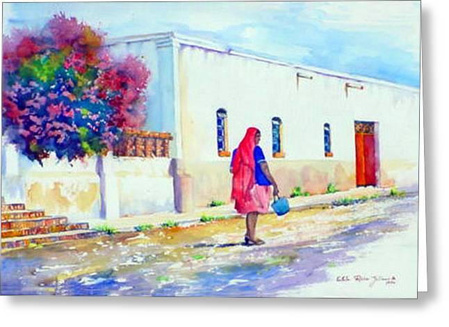 Mexico Woman With Blue Bucket Greeting Card