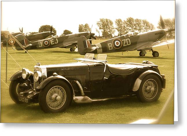 Mg And Spitfires Greeting Card by John Colley