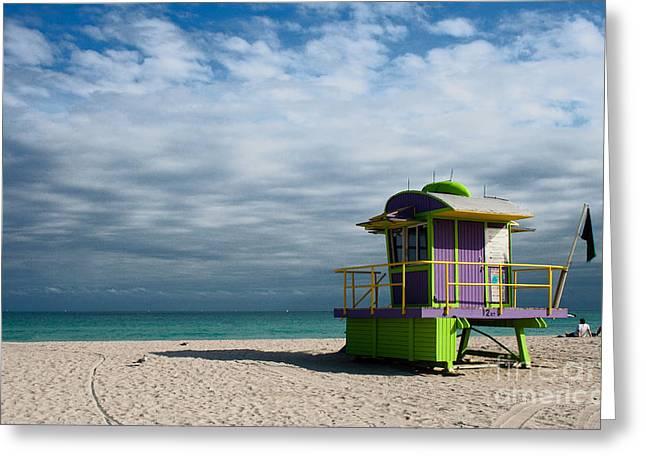 Miami 12th Street Beach  Greeting Card by Barbara McMahon