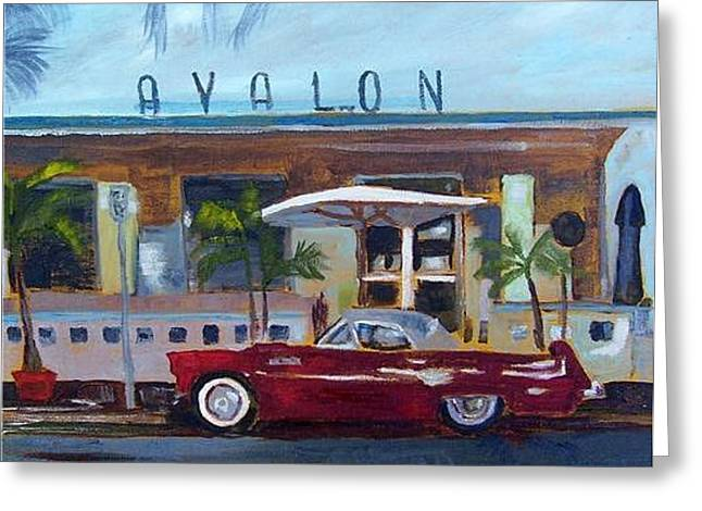 Miami Beach Avalon Thunderbird Greeting Card by Maria Soto Robbins