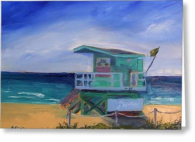 Miami Beach Lifeguard Shack 41 St. Greeting Card by Maria Soto Robbins