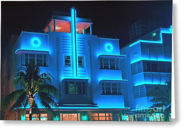 Miami Deco Lights Greeting Card