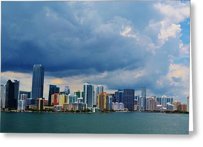 Miami Dowtown Greeting Card by Josee Dube