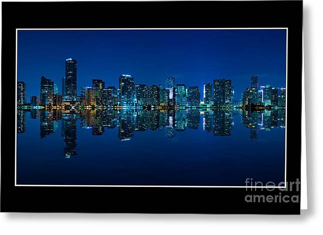 Greeting Card featuring the photograph Miami Skyline Night Panorama by Carsten Reisinger