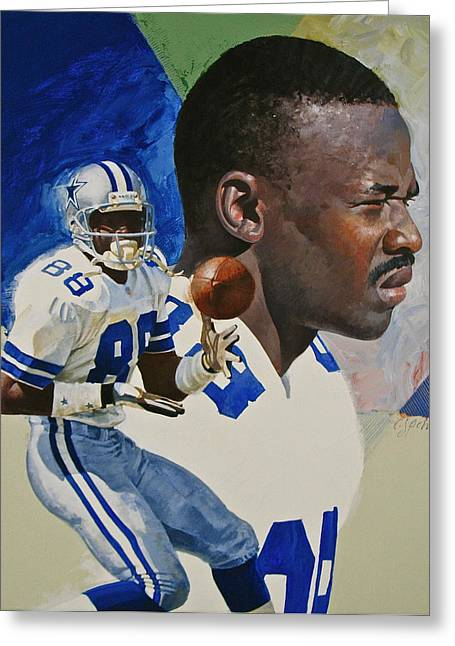 Greeting Card featuring the painting Michael Irvin by Cliff Spohn
