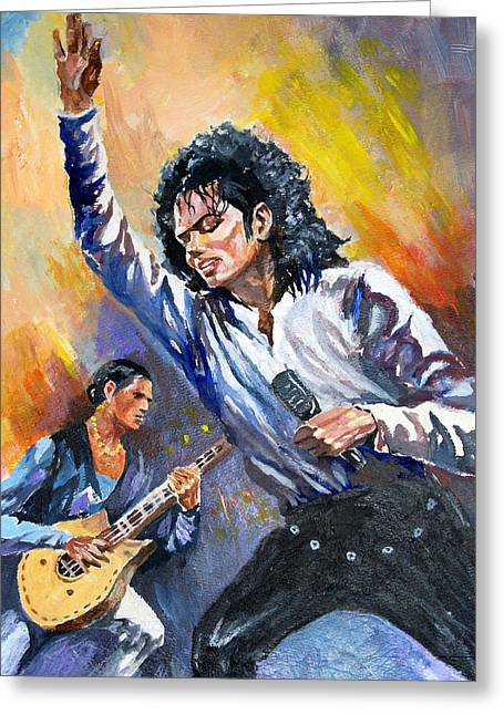 Greeting Card featuring the painting Michael Jacksn In Concert by Al Brown