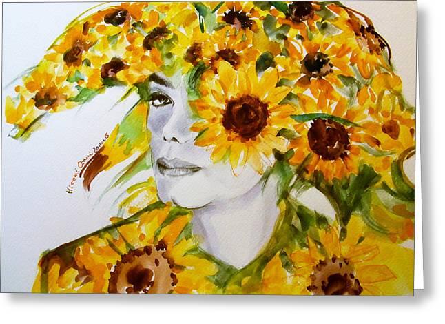 Michael Jackson - Sunflower Greeting Card by Hitomi Osanai
