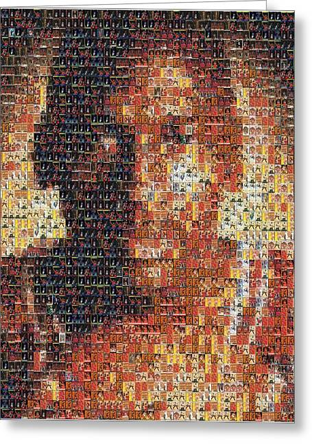 Michael Jordan Card Mosaic 1 Greeting Card by Paul Van Scott
