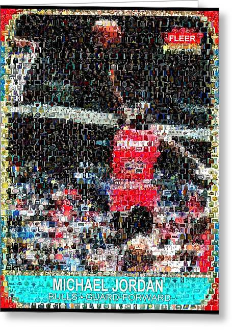 Michael Jordan Rookie Mosaic Greeting Card by Paul Van Scott