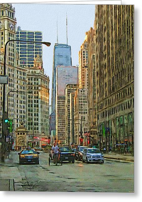 Michigan Avenue Greeting Card by Vladimir Rayzman