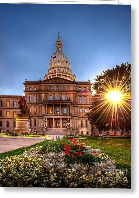 Greeting Card featuring the photograph Michigan Capitol - Hdr - 2 by Larry Carr