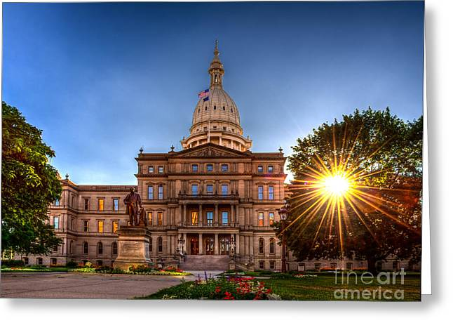 Greeting Card featuring the photograph Michigan Capitol - Hdr-1 by Larry Carr