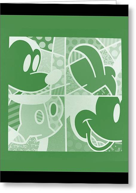 Mickey In Negative Olive Green Greeting Card by Rob Hans