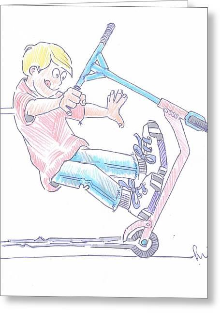 Micro Scooter Wheelie Cartoon Greeting Card