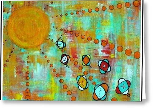 Microcosmic- Race For The Sun Greeting Card by Debra Jacobson