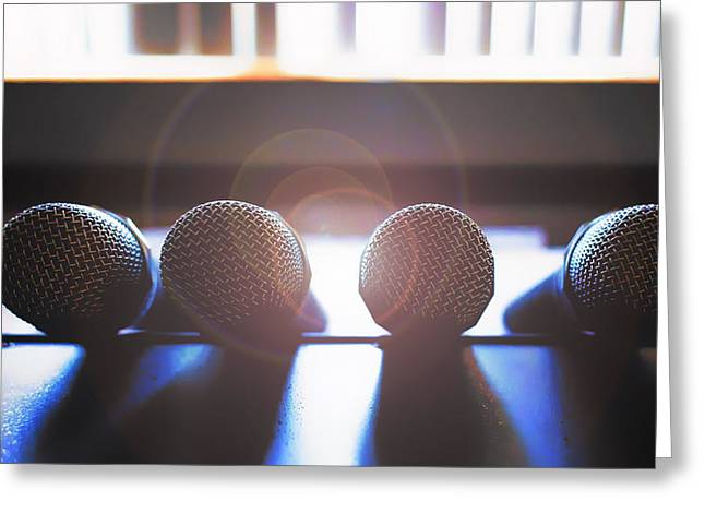 Microphone Flare Greeting Card by Bill Tiepelman