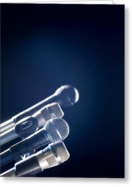 Microphones Greeting Card by Tek Image