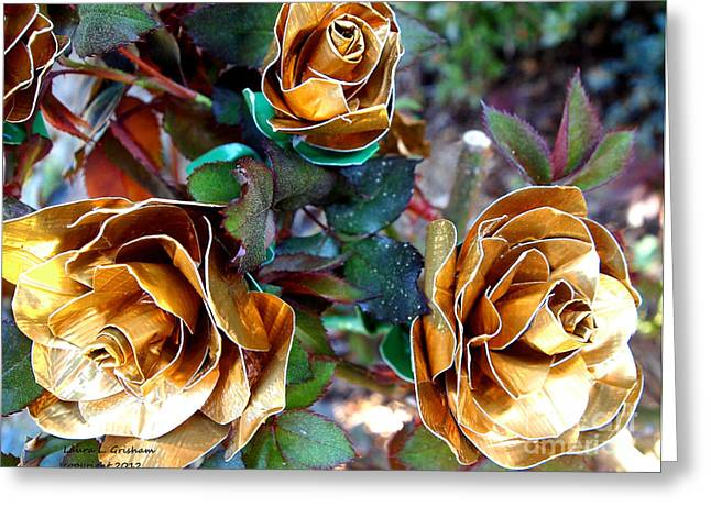 Midas Touch Duck Tape Roses Greeting Card by Laura  Grisham